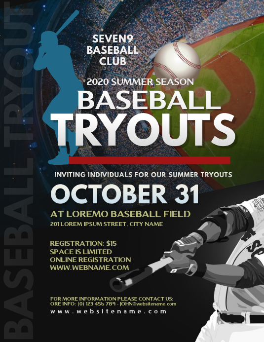 Baseball Tryouts Flyer Рекламная листовка (US Letter) template
