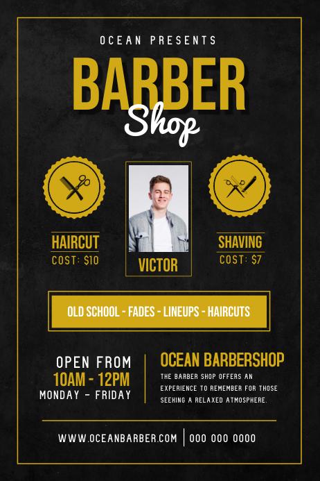 Basic Barber Shop Ad Poster Cartaz template