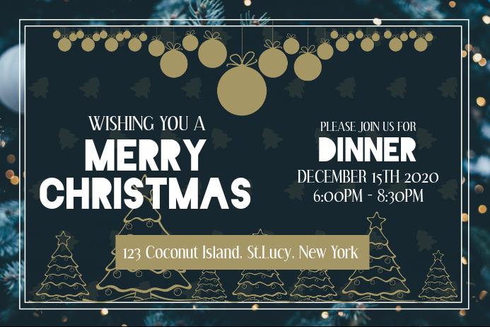 Basic Christmas Dinner Invitation Landscape Poster