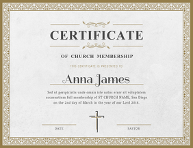 Basic Church Membership Certificate