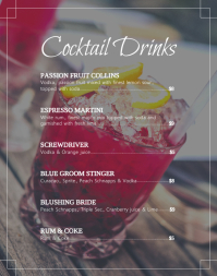 Basic Cocktail Menu Poster/Wallboard template