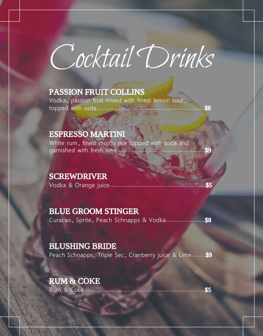 Basic Cocktail Menu