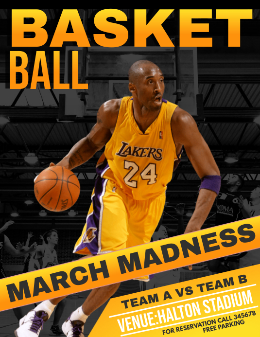 Basket ball flyers,march madness flyers Volante (Carta US) template