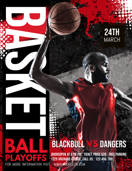 Basketball, March madness Løbeseddel (US Letter) template