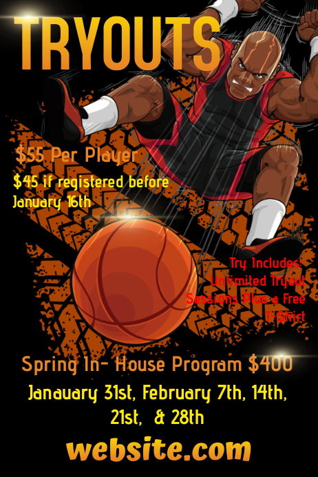 Basketball Aau Tryout Template  Postermywall
