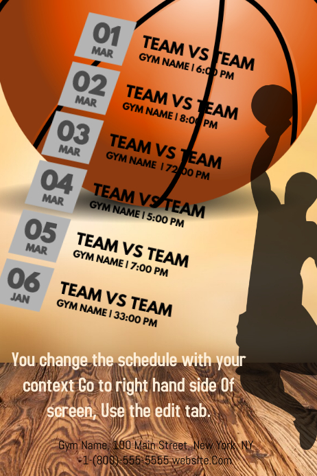 Basketball calendar template postermywall basketball calendar customize template saigontimesfo