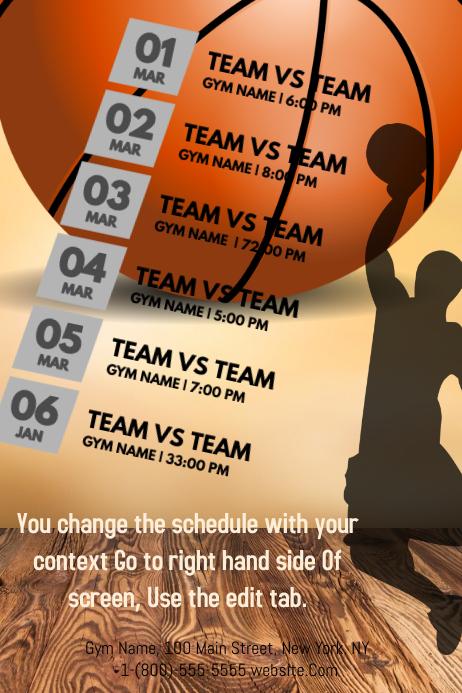 Basketball Calendar Плакат template