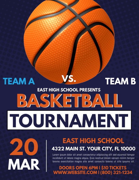 Basketball Flyer (Letter pang-US) template