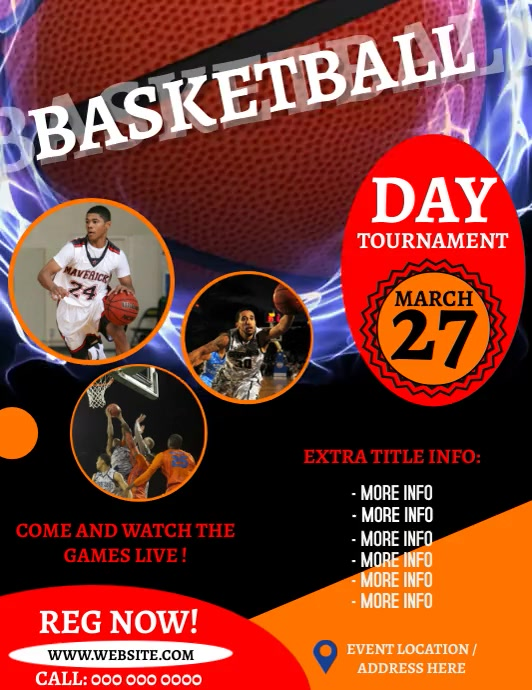 BASKETBALL EVENT TOURNAMENT Flyer Template Volantino (US Letter)