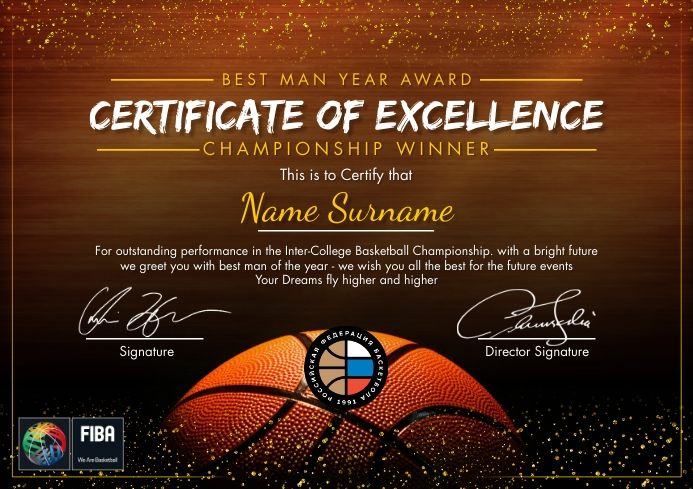 Basketball Excellence Certificate Template A4