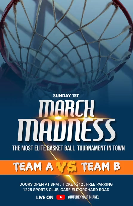 Basketball Flyer Video Template 2021 Half Page Wide