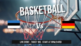 Basketball game facebook cover video template