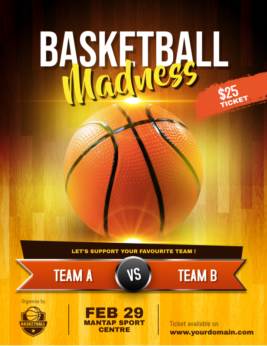 Basketball Game Flyer Poster Template Volantino (US Letter)