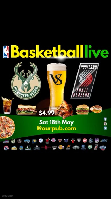 Basketball Game Live In Pub Template Postermywall