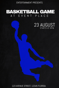 basketball game match event poster template dark