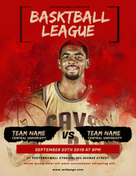 Basketball League Flyer Template Løbeseddel (US Letter)