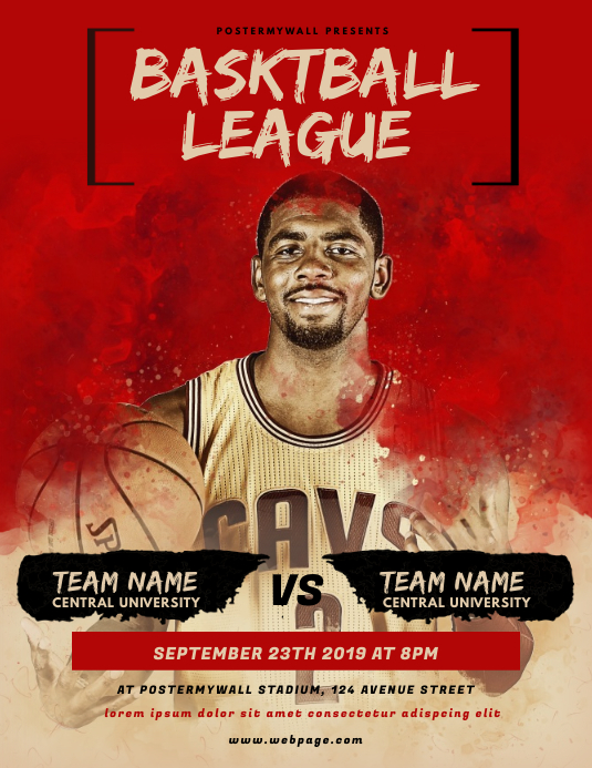 Basketball League Flyer Template ใบปลิว (US Letter)