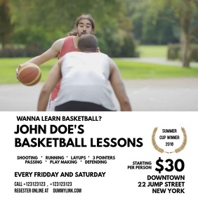 BasketBall Lessons template Square (1:1)