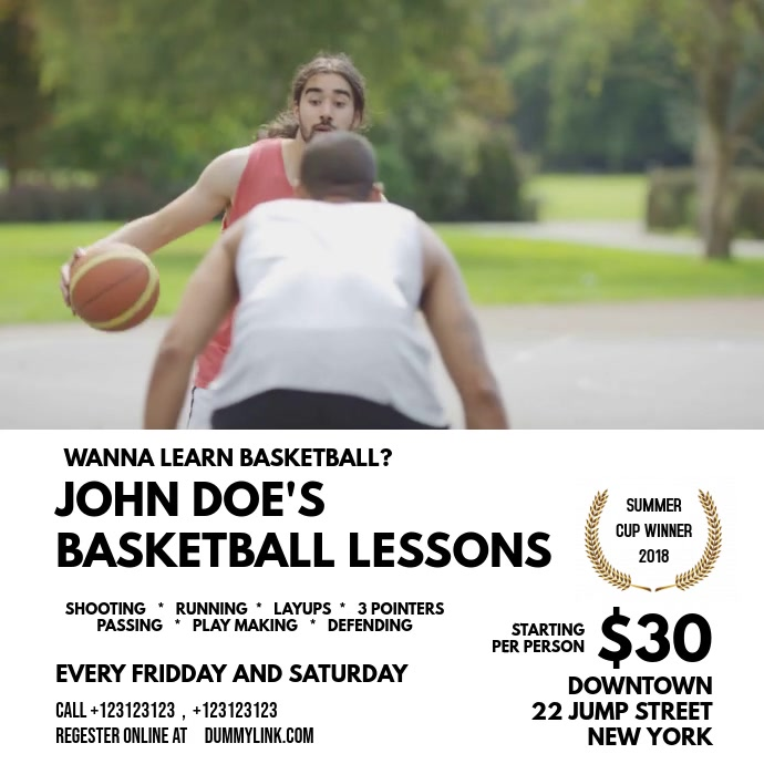 BasketBall Lessons template Quadrato (1:1)