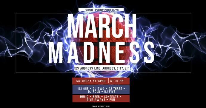 BASKETBALL MARCH MADNESS ad Flyer Template Gambar Bersama Facebook