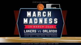 Basketball March Madness Match Facebook Cover Video Ikhava Yevidiyo ye-Facebook (16:9) template