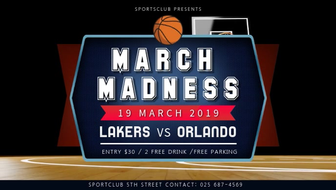 Basketball March Madness Match Facebook Cover Video template