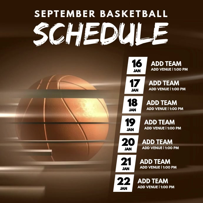 Basketball Monthly Schedule Video Template