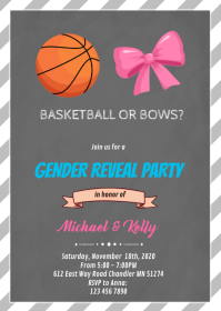 Basketball or bows gender reveal card