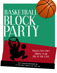 Basketball Party Flyer Template