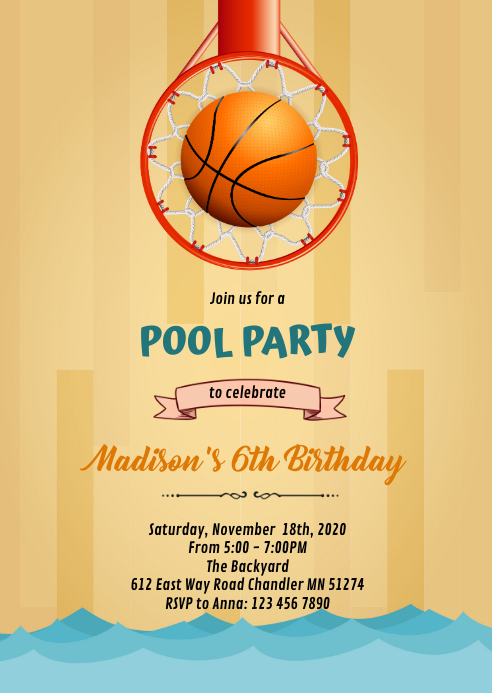 Basketball Pool Party invitation A6 template