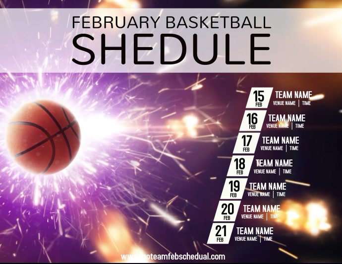 Basketball Schedule Volantino (US Letter) template