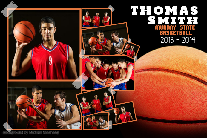 Basketball sports poster template postermywall for Sports team photography templates