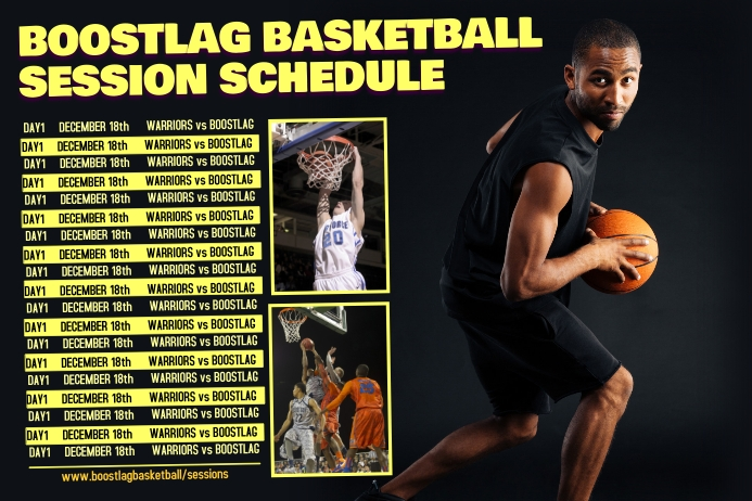 basketball sports team schedule template postermywall