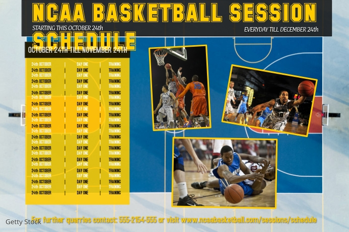 basketball sports team schedule template