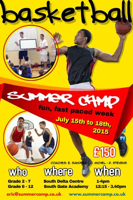 Basketball Summer Camp Poster template