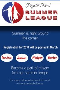 Basketball summer league Плакат template