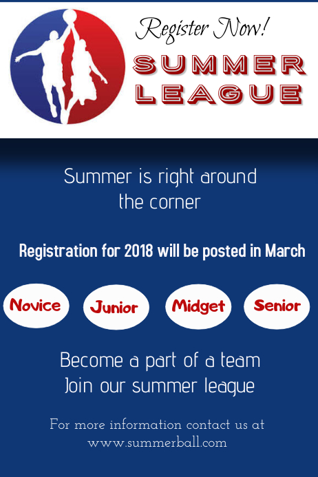 Basketball summer league Poster template