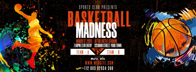 Basketball Tournament Ad Facebook Cover Photo template