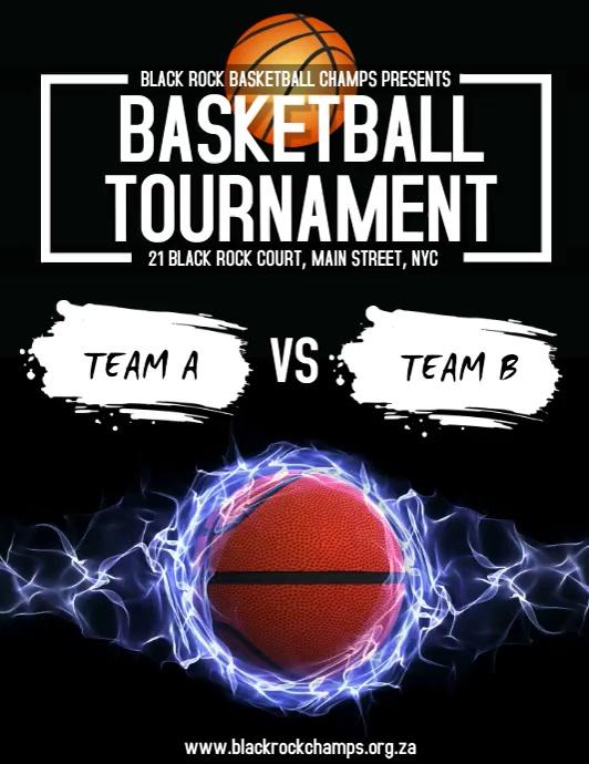 Basketball Tournament Løbeseddel (US Letter) template