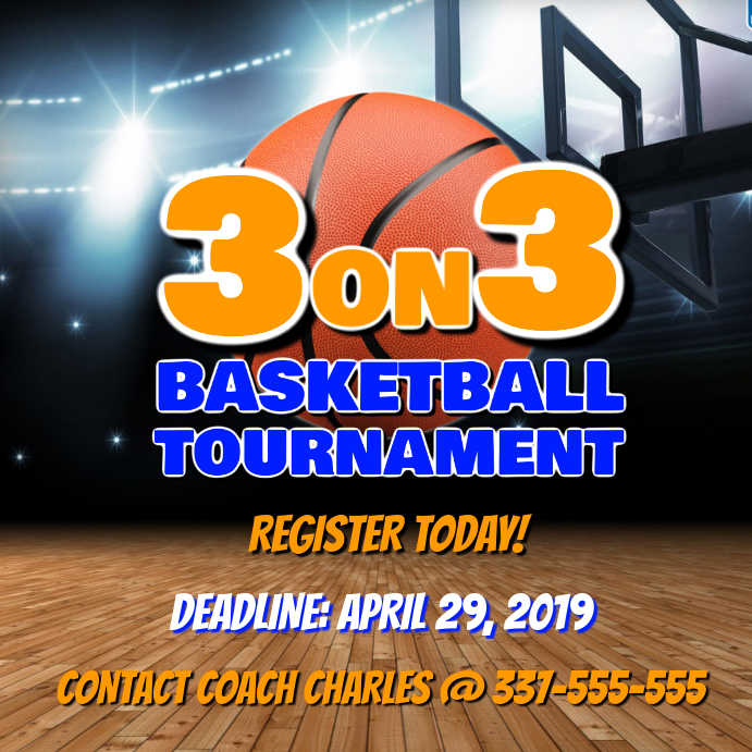 BASKETBALL TOURNAMENT โพสต์บน Instagram template