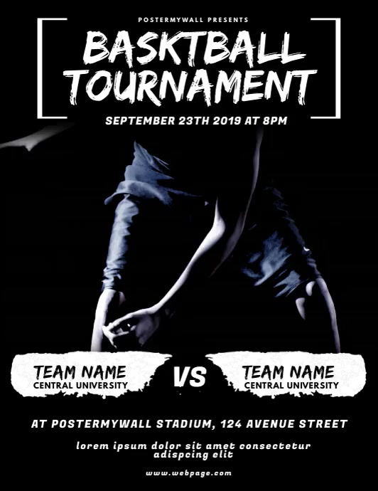 BasketBall Tournament Flyer Video Design Volante (Carta US) template