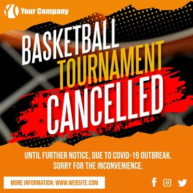 Basketball Tournament Game Cancelled Covid-19 โพสต์บน Instagram template