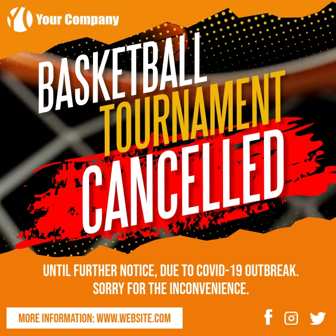 Basketball Tournament Game Cancelled Covid-19 Pos Instagram template