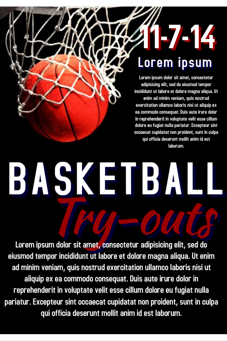 Basketball Try out Affiche template