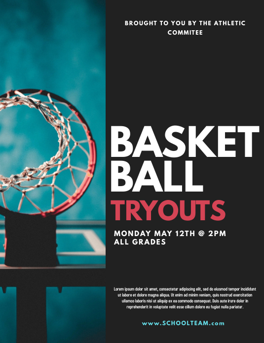 Basketball tryouts Volante (Carta US) template
