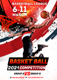 basketball tryouts event Tournament Flyer A6 template