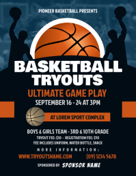 Basketball Tryouts Flyer Рекламная листовка (US Letter) template