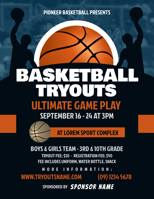 Basketball Tryouts Flyer