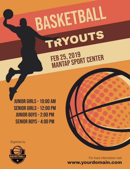 Basketball Tryouts Flyer Poster Template