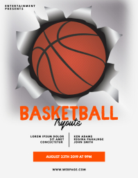 Basketball Tryouts Flyer Template Ulotka (US Letter)